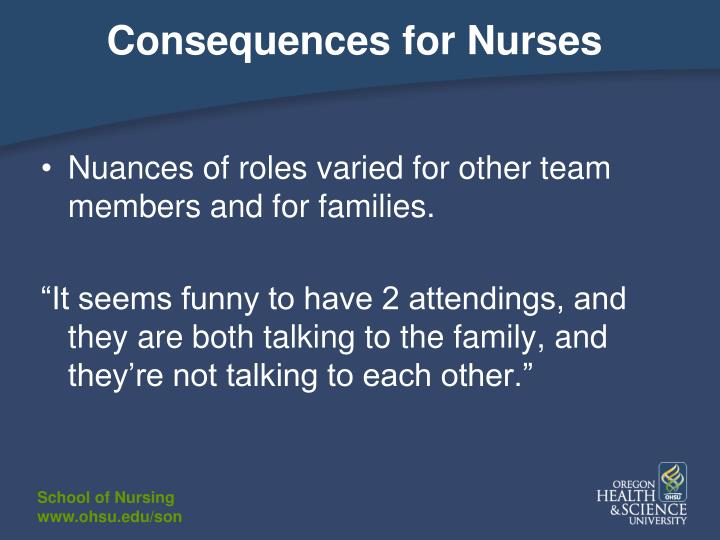 Consequences for Nurses