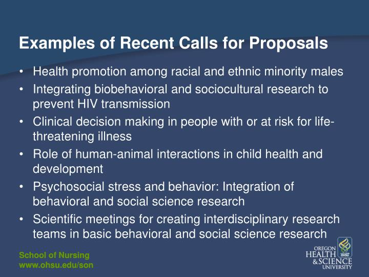 Examples of Recent Calls for Proposals
