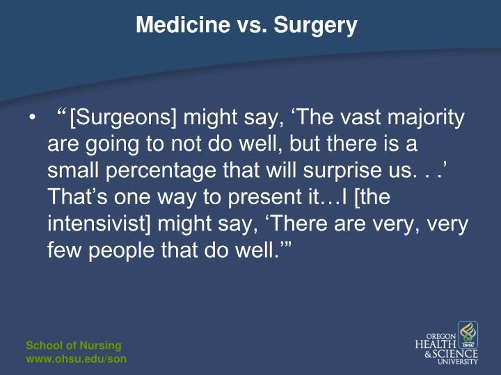Medicine vs. Surgery