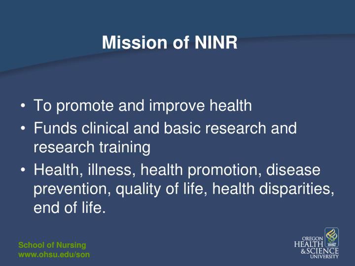Mission of NINR