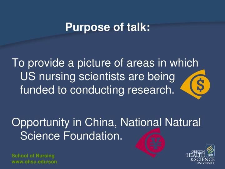 Purpose of talk: