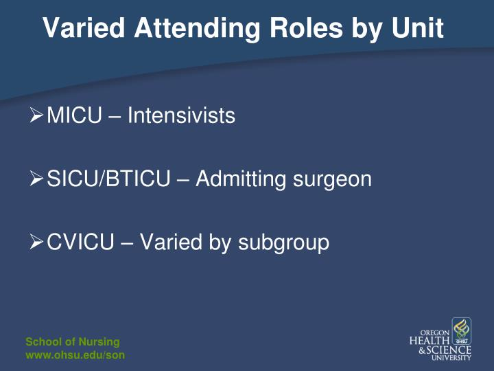 Varied Attending Roles by Unit
