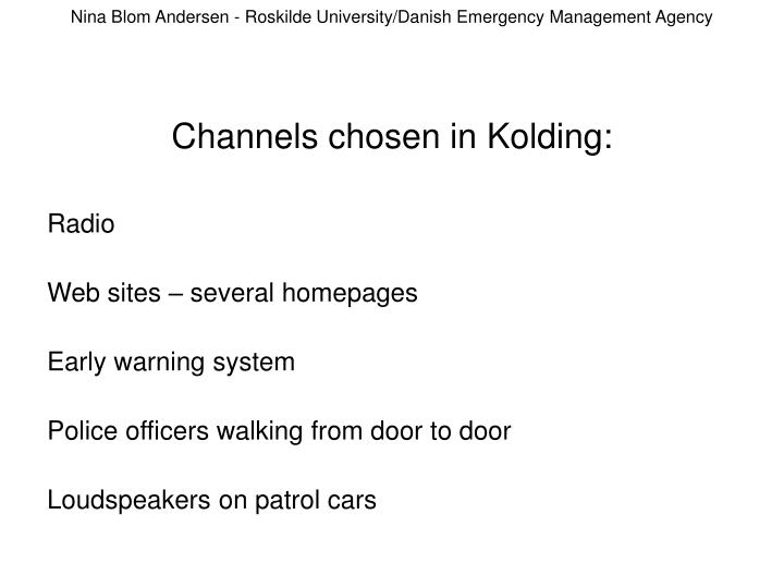 Nina Blom Andersen - Roskilde University/Danish Emergency Management Agency