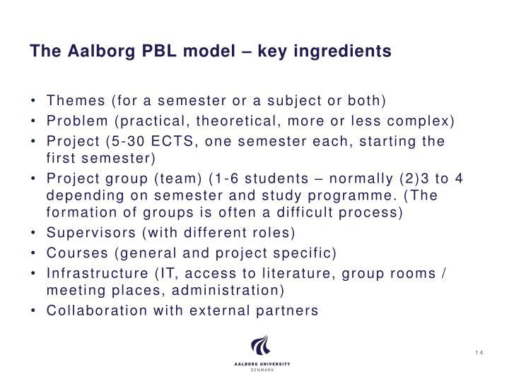 The Aalborg PBL model – key ingredients