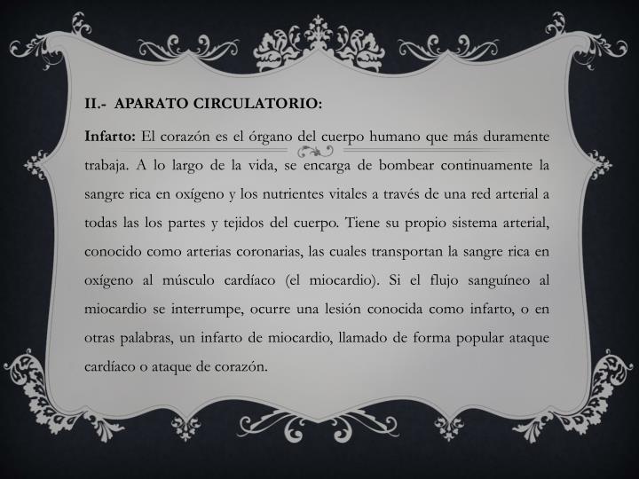 II.-  APARATO CIRCULATORIO: