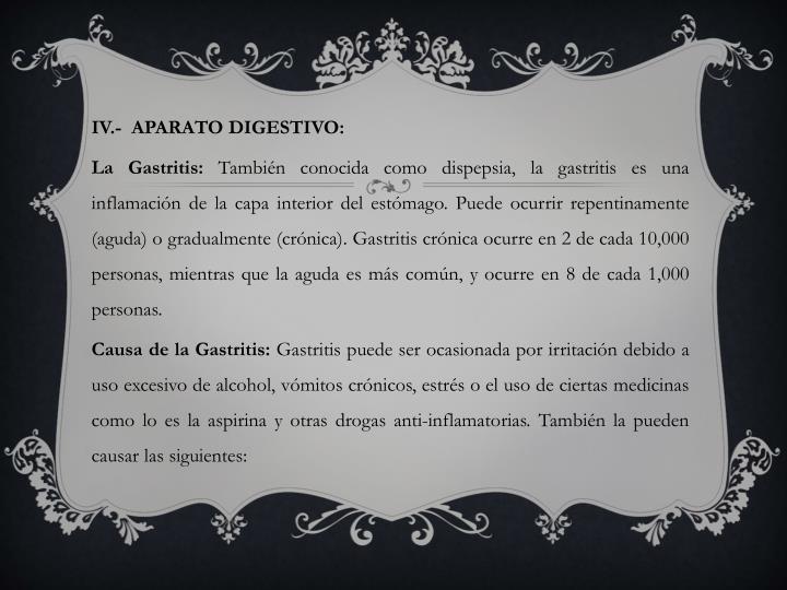 IV.-  APARATO DIGESTIVO: