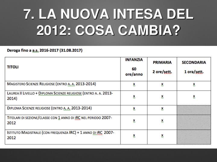 7. LA NUOVA INTESA DEL 2012: COSA CAMBIA?