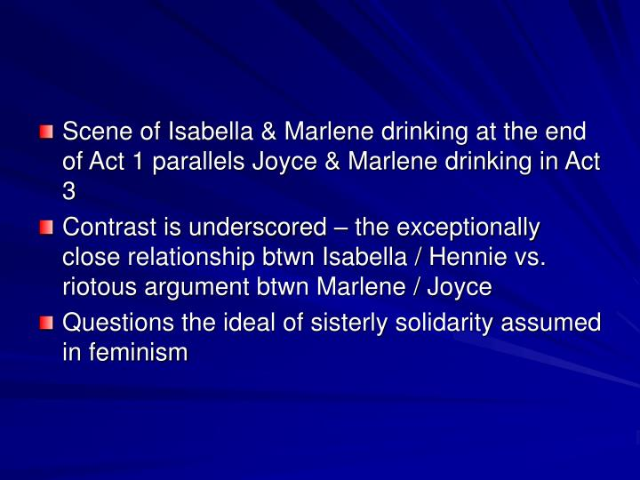 Scene of Isabella & Marlene drinking at the end of Act 1 parallels Joyce & Marlene drinking in Act 3