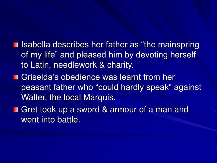 "Isabella describes her father as ""the mainspring of my life"" and pleased him by devoting herself to Latin, needlework & charity."