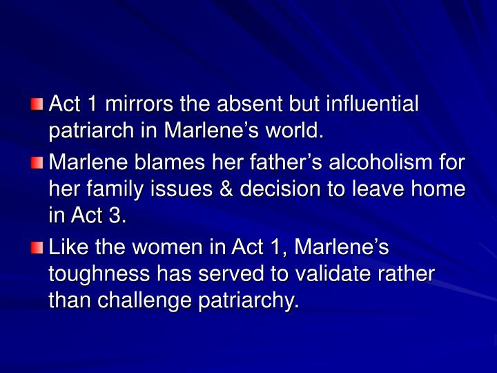 Act 1 mirrors the absent but influential patriarch in Marlene's world.
