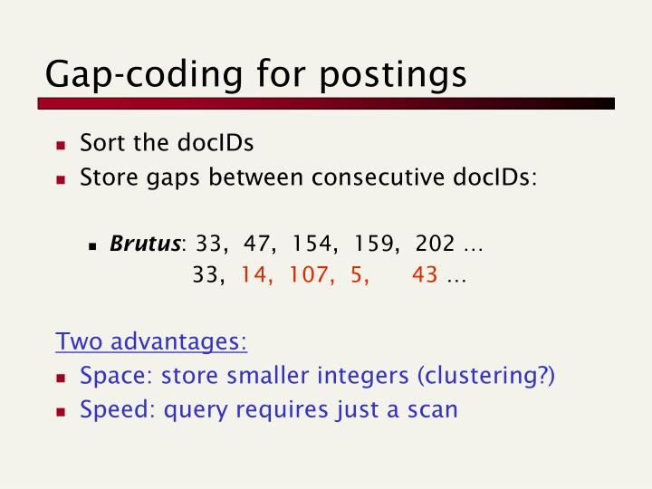 Gap-coding for postings