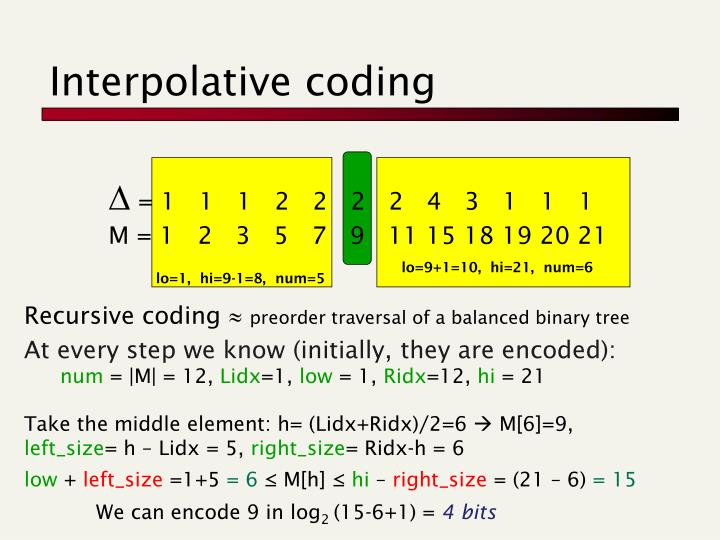 Interpolative coding