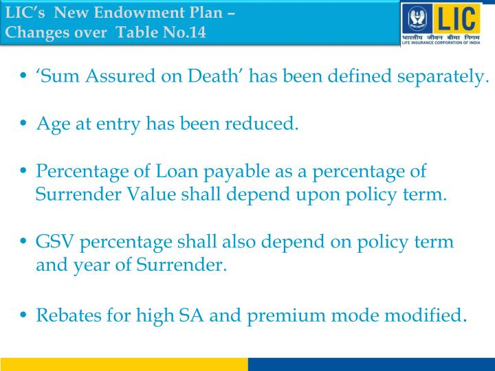 LIC's  New Endowment Plan –