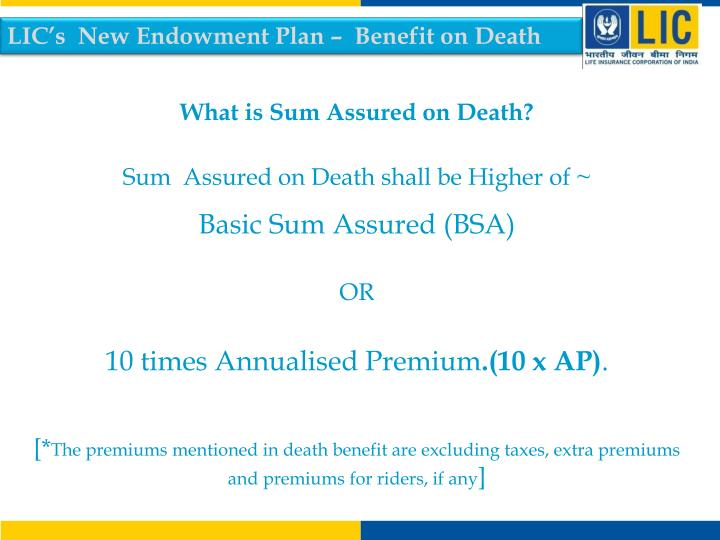 LIC's  New Endowment Plan –  Benefit on Death