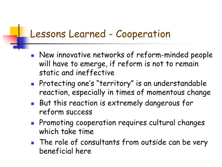 Lessons Learned - Cooperation