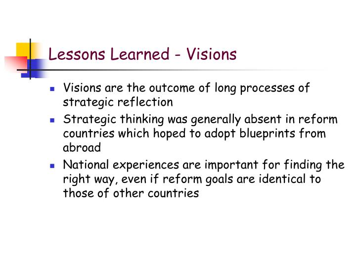 Lessons Learned - Visions