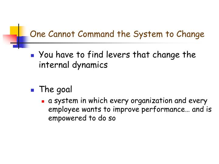 One Cannot Command the System to Change