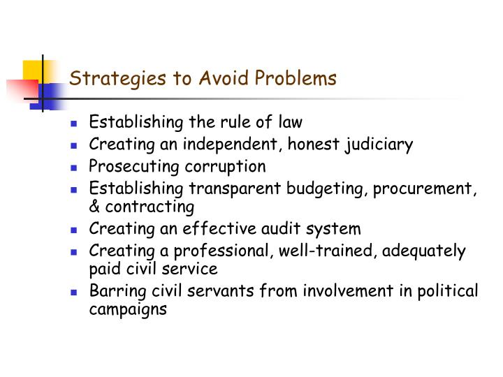 Strategies to Avoid Problems