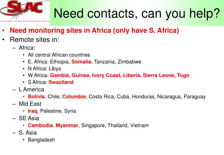 Need contacts, can you help?