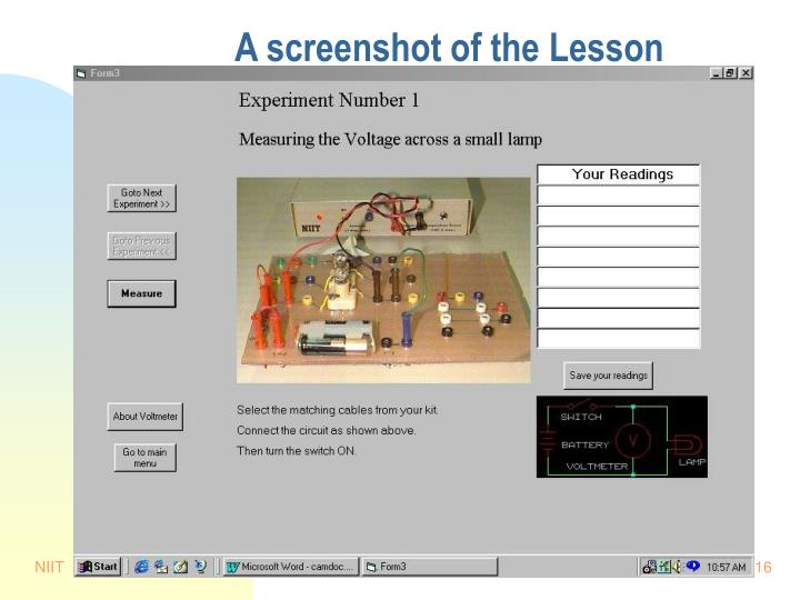 A screenshot of the Lesson