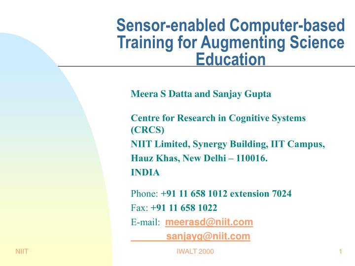 Sensor-enabled Computer-based Training for Augmenting Science Education