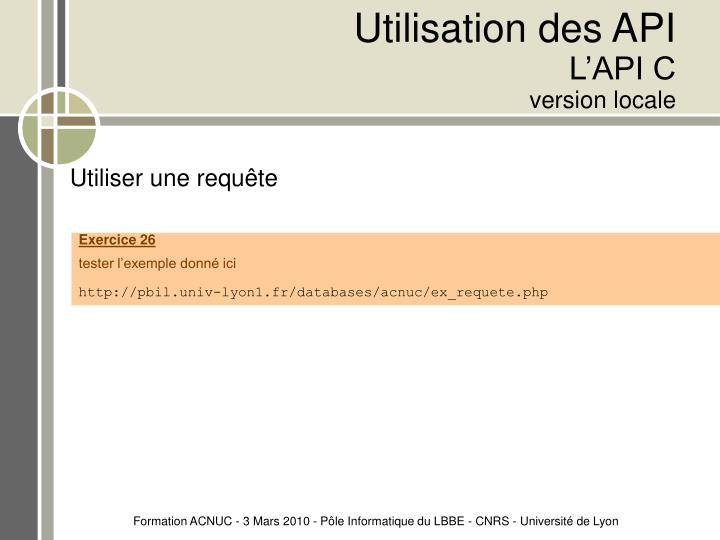 Utilisation des API