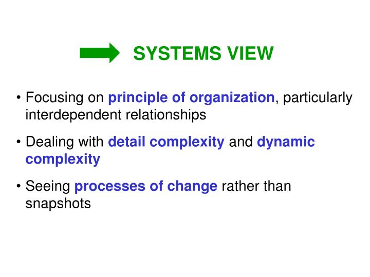 SYSTEMS VIEW