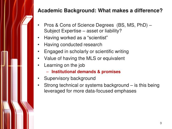 Academic background what makes a difference