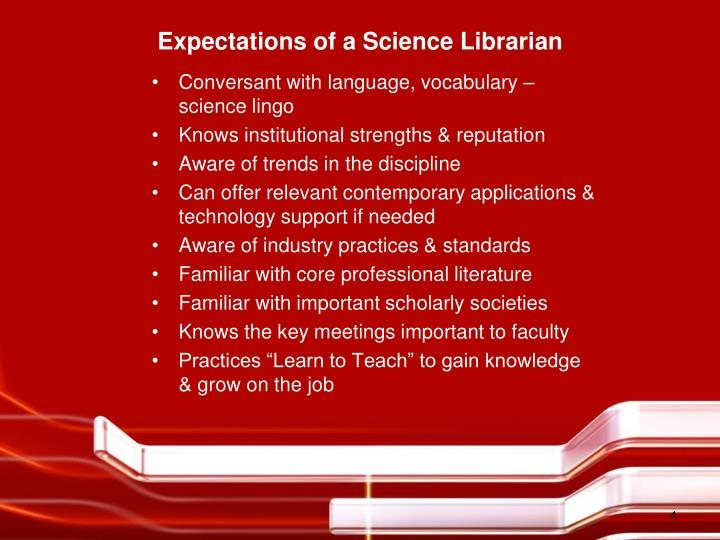 Expectations of a Science Librarian
