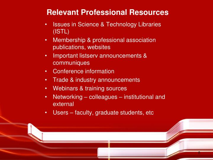 Relevant Professional Resources