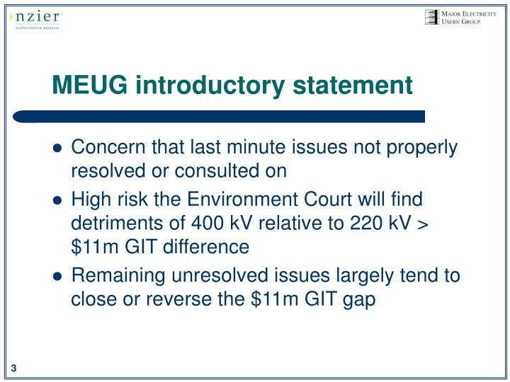 Meug introductory statement