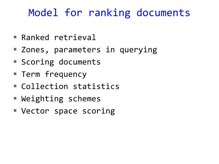 Model for ranking documents