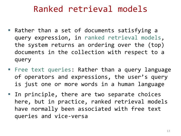 Ranked retrieval models