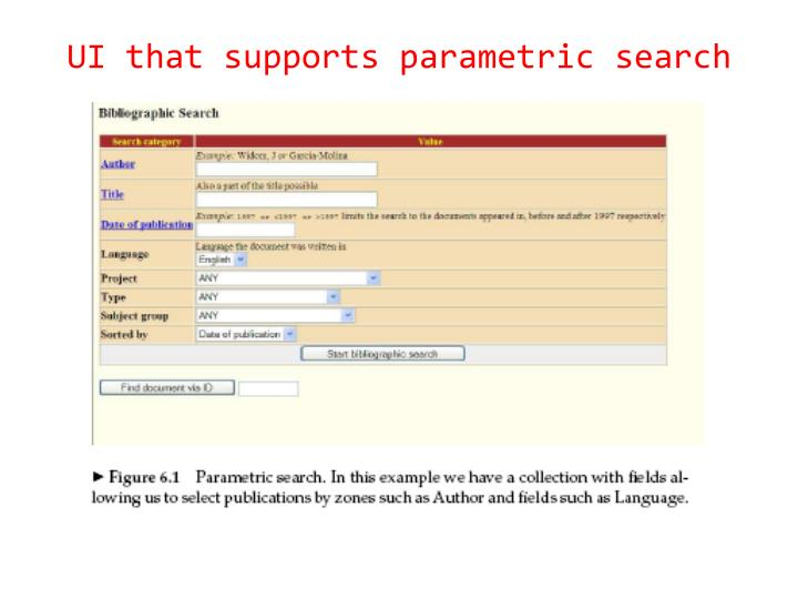 UI that supports parametric search
