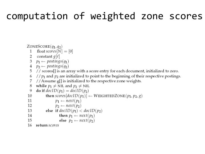 computation of weighted zone scores