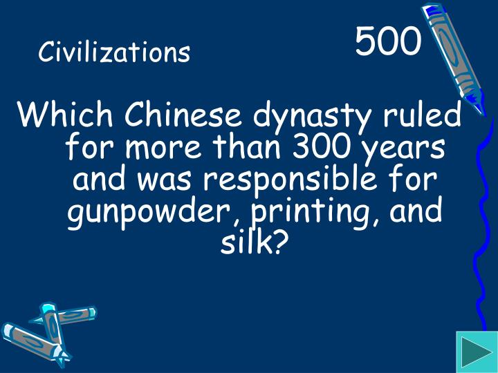 Which Chinese dynasty ruled for more than 300 years and was responsible for gunpowder, printing, and silk?