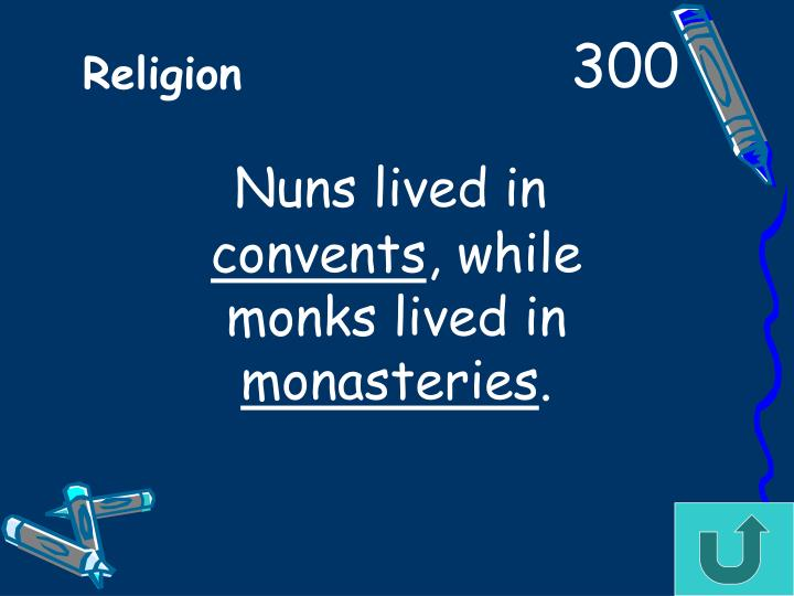 Nuns lived in