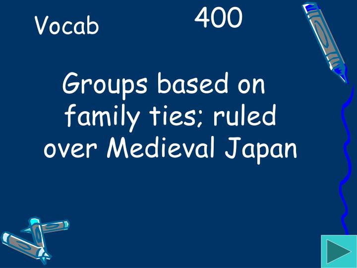 Groups based on family ties; ruled over Medieval Japan