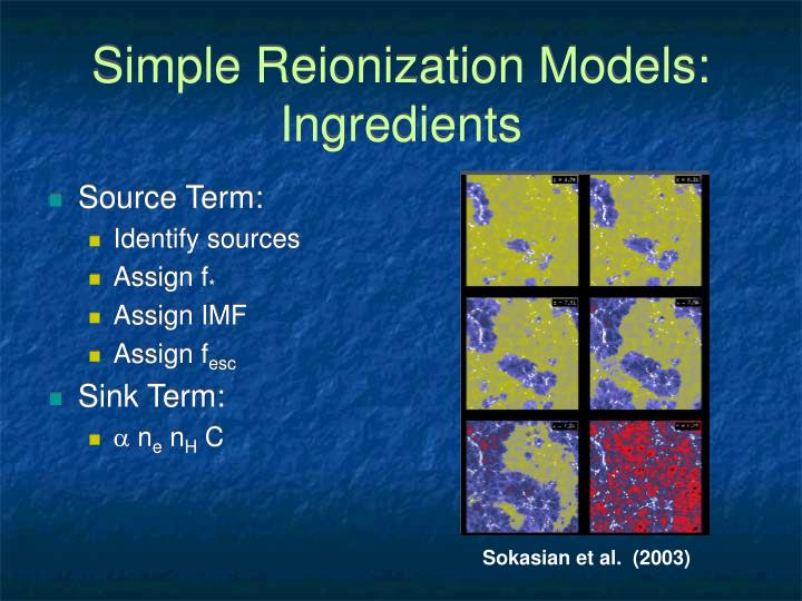 Simple Reionization Models: Ingredients