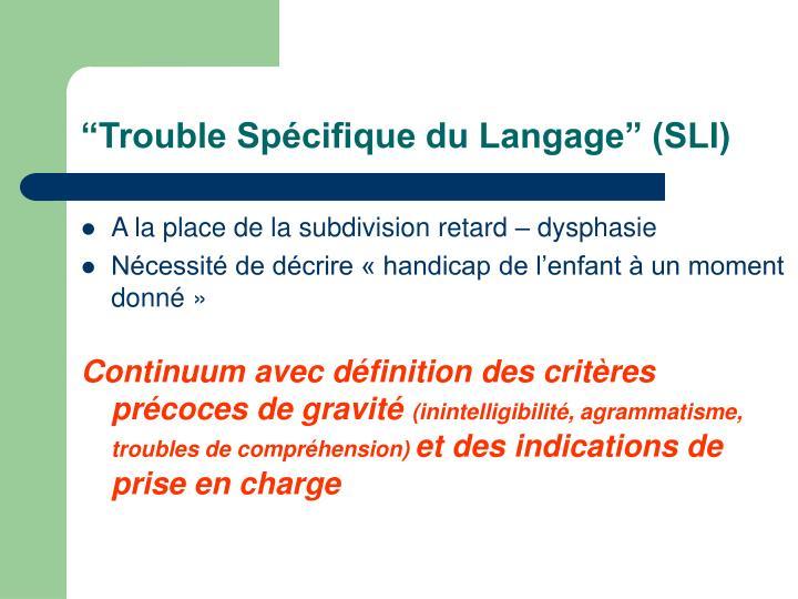 """""""Trouble Spécifique du Langage"""" (SLI)"""