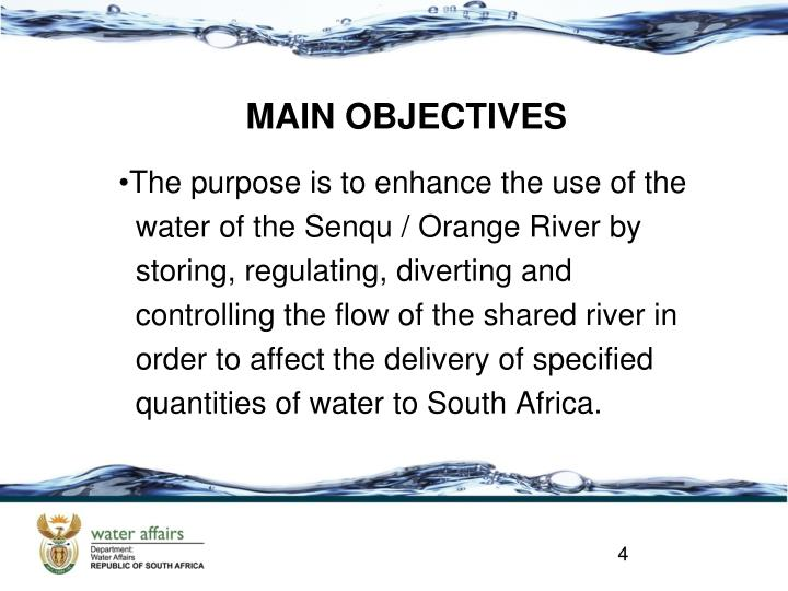 MAIN OBJECTIVES