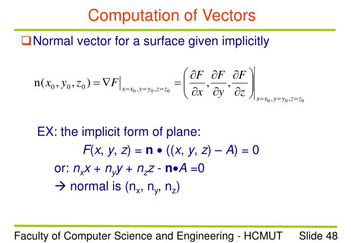 Computation of Vectors