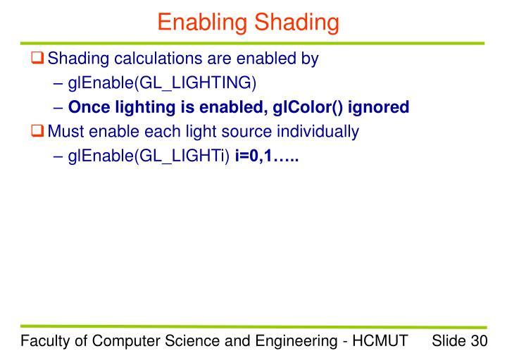 Enabling Shading
