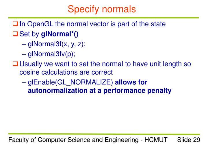 Specify normals