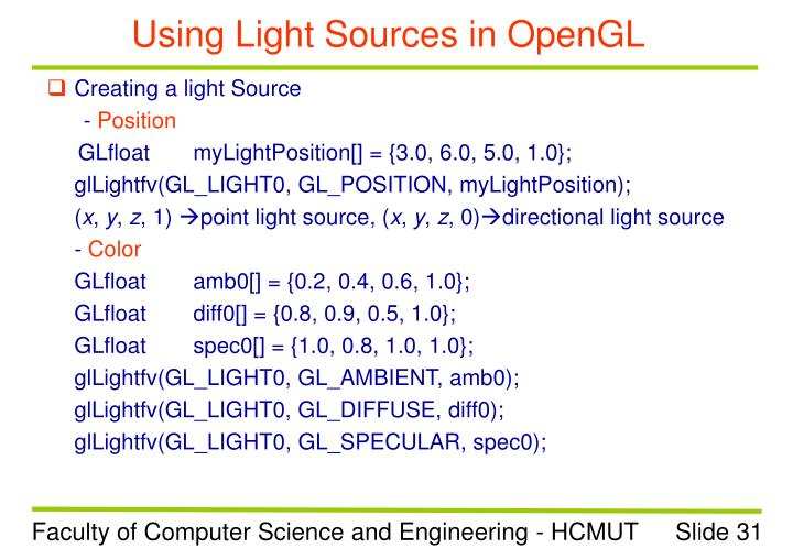 Using Light Sources in OpenGL