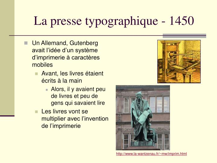 La presse typographique - 1450