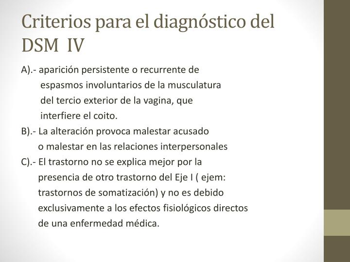 Criterios para el diagnóstico del