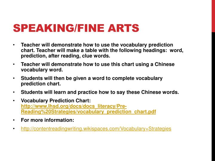 Speaking/fine arts
