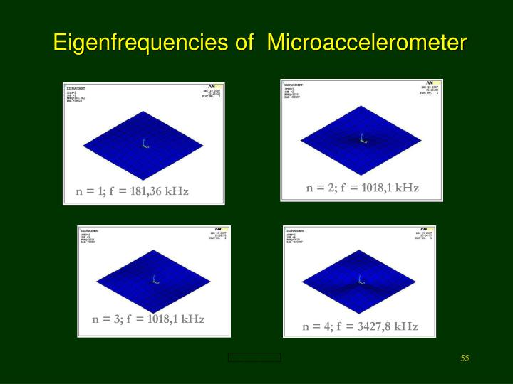 Eigenfrequencies of  Microaccelerometer