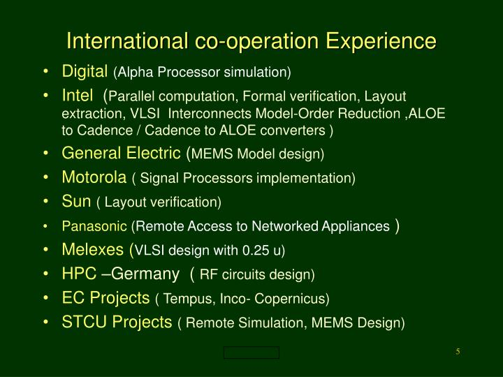 International co-operation Experience